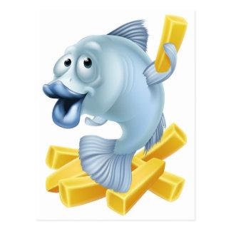 Fish and chips cartoon postcard