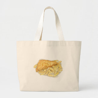 fish and chips large tote bag