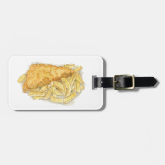 fish and chips luggage tag