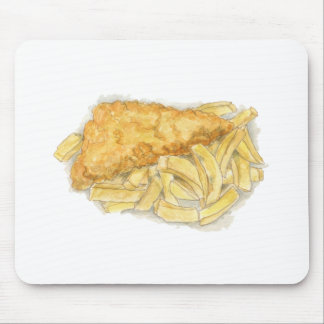 fish and chips mouse pad
