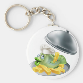 Fish and chips platter basic round button keychain