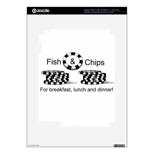 Fish and Chips poker player t items Decal For iPad 3