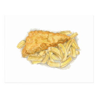 fish and chips postcard