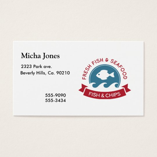Fish And Chips Seafood Logo Business Card