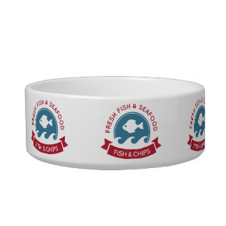 Fish And Chips Seafood Logo Cat Food Bowl