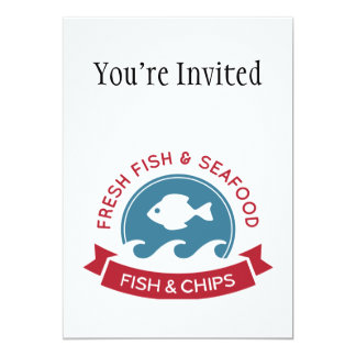 Fish And Chips Seafood Logo 5x7 Paper Invitation Card