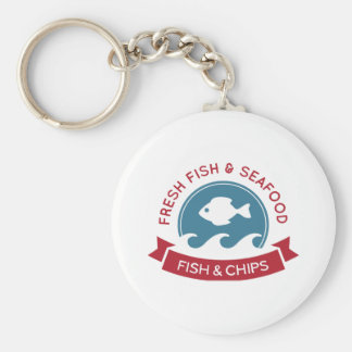 Fish And Chips Seafood Logo Keychain