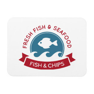 Fish And Chips Seafood Logo Magnets