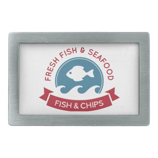 Fish And Chips Seafood Logo Rectangular Belt Buckle