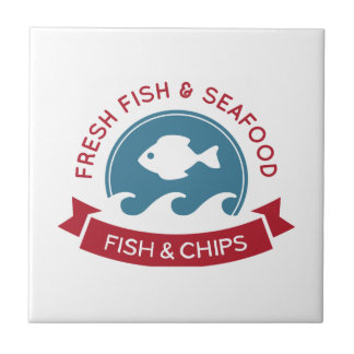 Fish And Chips Seafood Logo Small Square Tile