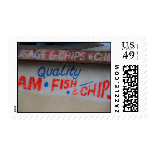 Fish and Chips  Shop Sign Postage Stamp Stamps