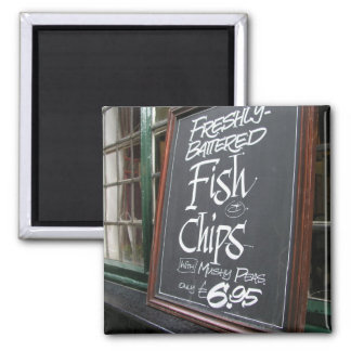 Fish and chips sign 2 inch square magnet