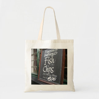 Fish and chips sign budget tote bag
