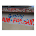 Fish and Chips Sign Postcard Postcard