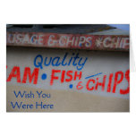 Fish and Chips Sign Wish You Were Here Card Greeting Card