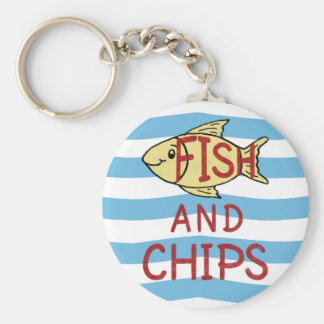 Fish and Chips Square Design Keychain