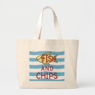 Fish and Chips Square Design Large Tote Bag