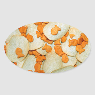 Fish And Chips Oval Stickers