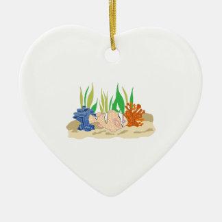 FISH AND CORAL CERAMIC HEART ORNAMENT