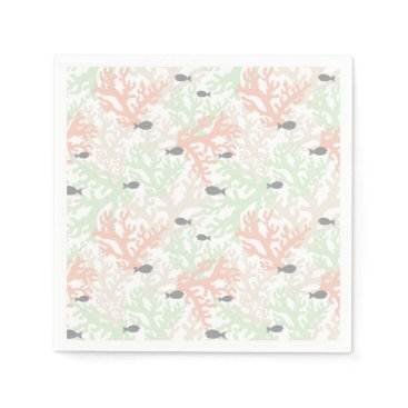 Beach Themed Fish and Coral Pastel Paper Napkins
