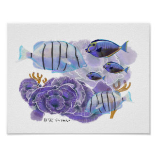 Fish and corals painting poster