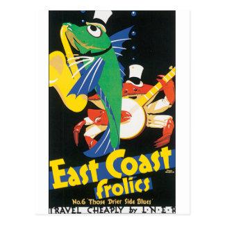 Fish and Crab play saxophone and banjo Postcard