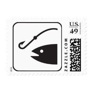 Fish and Fishing Hook, B&W Postage Stamps