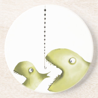 fish and fishing line beverage coaster