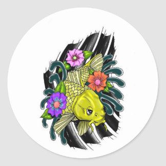 FISH AND FLOWERS DESIGN CLASSIC ROUND STICKER