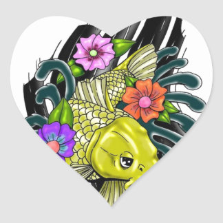 FISH AND FLOWERS DESIGN HEART STICKER
