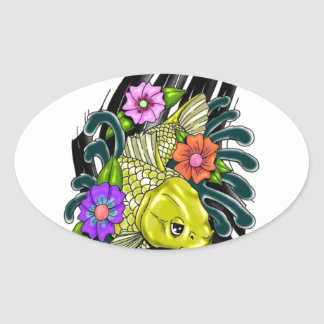 FISH AND FLOWERS DESIGN OVAL STICKER
