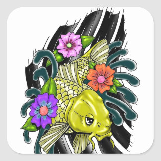 FISH AND FLOWERS DESIGN SQUARE STICKER
