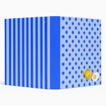 Fish and fried egg on blue polka dots and stripes vinyl binders