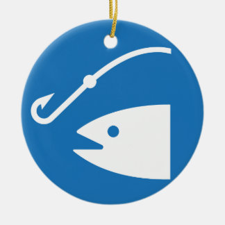 Fish and Hook Fishing Icon Double-Sided Ceramic Round Christmas Ornament