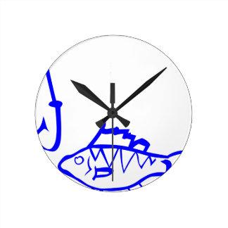 Fish and hook round clock