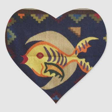 Valentines Themed Fish and Moon Sticker