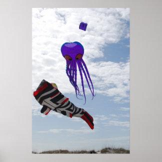 Fish and Octopus Kites Print