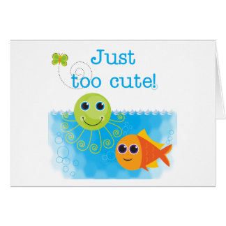 Fish and Octopus Too Cute Tshirts and Gifts Card