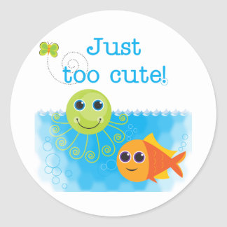 Fish and Octopus Too Cute Tshirts and Gifts Classic Round Sticker