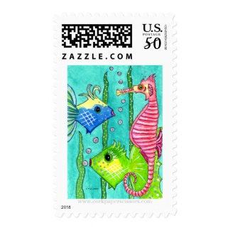 Fish and Sea Horse Postage Stamps