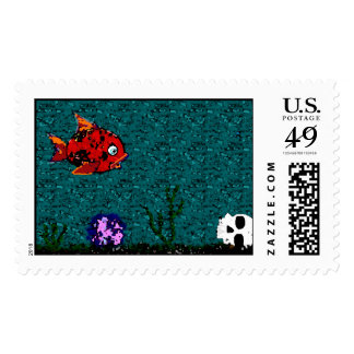 Fish and Skull Postage Stamp