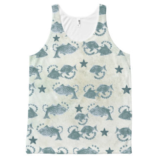 Fish and Star Pattern Abstract Printed Tank All-Over Print Tank Top