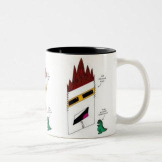 Fish and the Mighty Godzilla coffee cup Two-Tone Coffee Mug