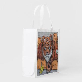 Fish And Tiger Graffiti Grocery Bag
