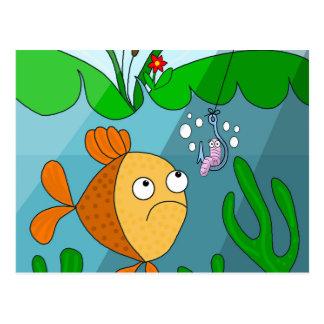 Fish and worm postcard