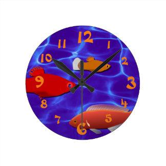 Fish Aquarium Round Clock