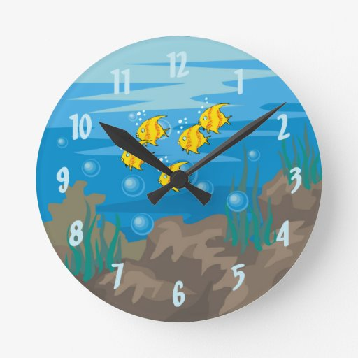 Fish aquarium wall clock zazzle for Fish wall clock