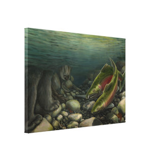 Fish Art Canvas Coho Salmon w. Bear Canvas Print