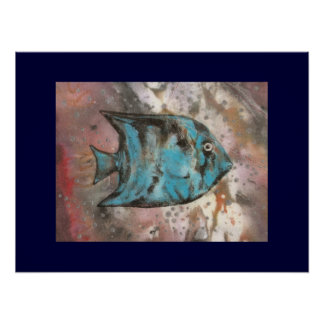 Fish art painting poster