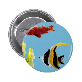Fish Art swimming in the sea Button